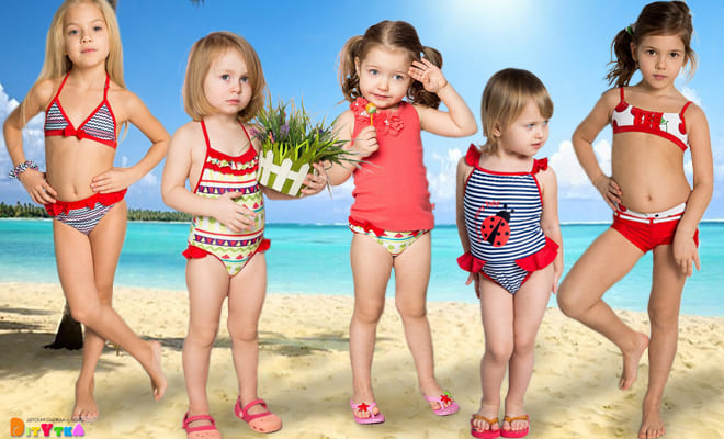 A large collection of bright children's swimwear from Sweet Berry