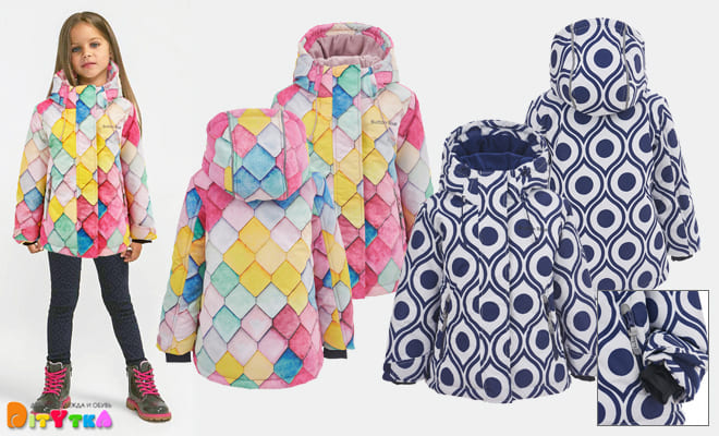 Girls ' Outerwear Button Blue Active collection-Winter jacket
