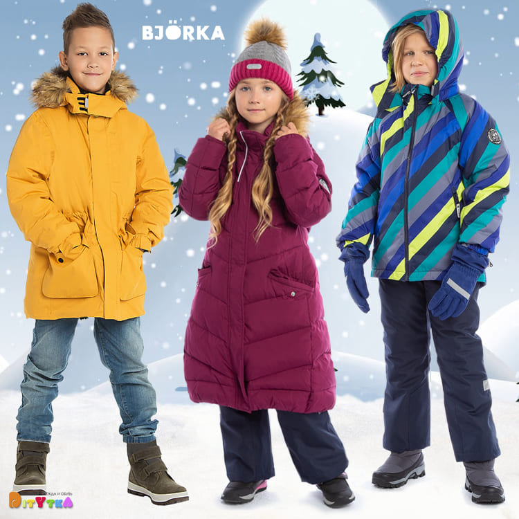 New brand of children 's top clothes BJÖRKA. Winter jackets, suits and coats